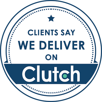 Clutch logo - saying Clients say Bluelupin Deliver